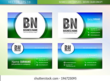 Business Card Templates - nature color concept. Vector illustration, EPS10