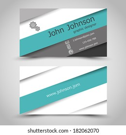 business card with turquoise stripes. office concept