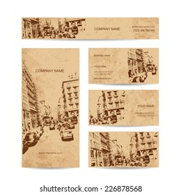 Business card, urban design. Street of Barcelona city