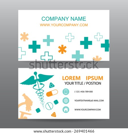 Business card vector background, Hospital personnel