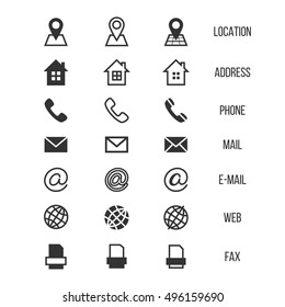 Business card vector icons, home and phone, address and telephone, fax and web, location symbols. Contact of telephone for communication illustration