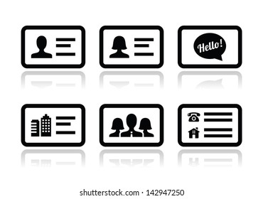Id card icon images stock photos vectors shutterstock business card vector icons set reheart Images