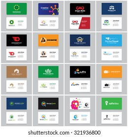 Business Card vector set with logo design for creative business, Education, Real estate, Car and Automotive, Ecology, Fashion brand, Technology brand identity.