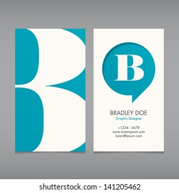 Business card vector template, alphabet letter, text color editable. Font, type, typography retro vintage new style. Ideal for independent worker, company, shop, restaurant...