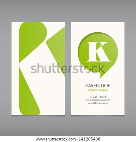 Business Card Vector Template Alphabet Letter Stock Vector Royalty
