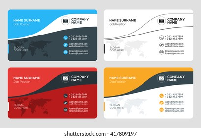 Business Card Vector Template. Flat Style Vector Illustration. Stationery Design. 4 Color Combinations. Print Template