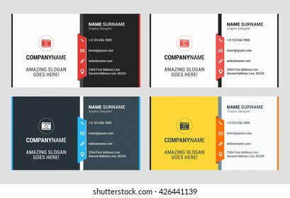 Business Card Vector Template. Flat Style Vector Illustration. Stationery Design. 4 Color Variations. Print Template