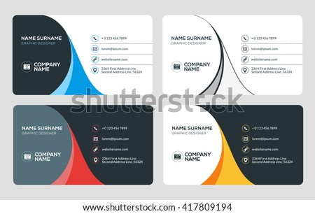 Business Card Vector Template Flat Style Stock Vector Royalty Free