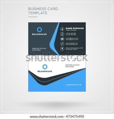 Business card vector template personal visiting stock vector business card vector template personal visiting card with company logo clean flat design wajeb Image collections