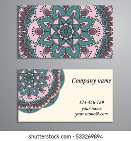 Beautiful floral design decorated two sided business card design business card vintage decorative elements ornamental floral business cards oriental pattern vector reheart Gallery