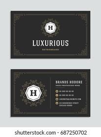 Business card vintage ornament style and luxury logo vector template. Retro elegant flourishes ornamental frames design.