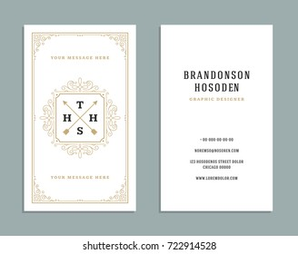 Business card vintage ornament style and luxury logo vector template. Retro elegant flourishes ornamental design.