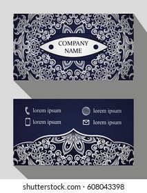 Business card, vintage card set with element of the mandala design of the logo. Abstract layout with Oriental patterns. The front and rear sides. Easy to use and edit text