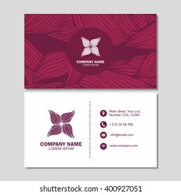 Business card or visiting card template with abstract logo element flower. Vector design editable template