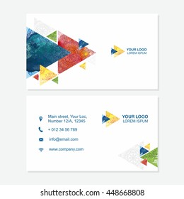 Business card or visiting card template with abstract polygonal pattern, multicolor vector design editable