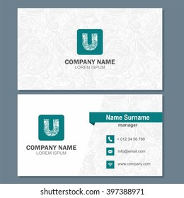 Business card or visiting card template with logo element letter u, multicolor vector design editable