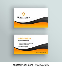 business card in yellow and black wavy style