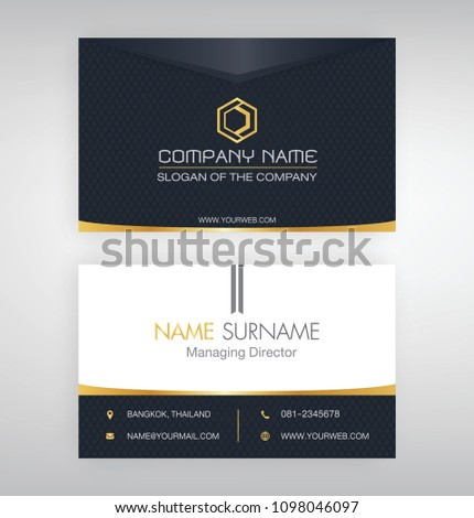 Business Cards Black Gold White Stock Vector Royalty Free