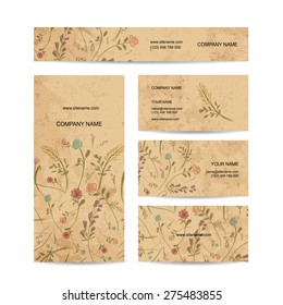 Business cards collection, floral design, vector illustration