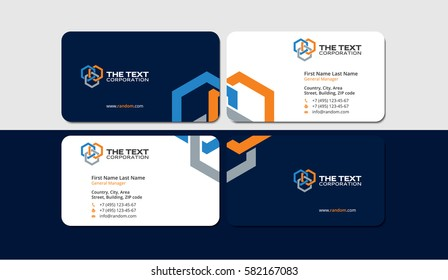 business cards construction industry, colored hexagons, creative design