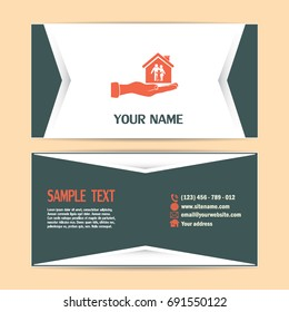 Business cards design. Concept illustration of safety of house and family. Family house in hand.Vector icon.