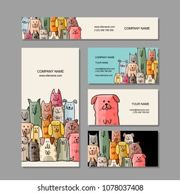 Business cards design, funny dogs family