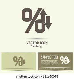 Business cards design. percentages up and down Flat design style