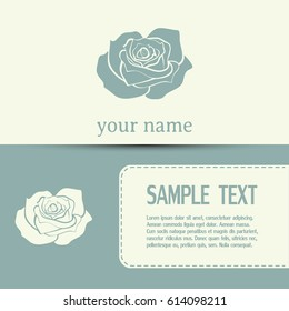 Business cards design. rose vector icon