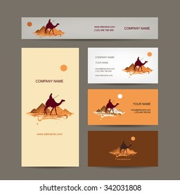 Business cards design. Traveling by camel at pyramids. Vector illustration