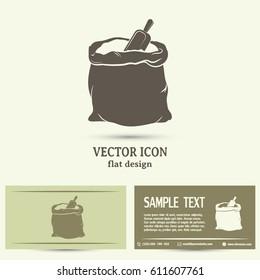 Business cards design. Vector illustration. A sack of sugar and flour