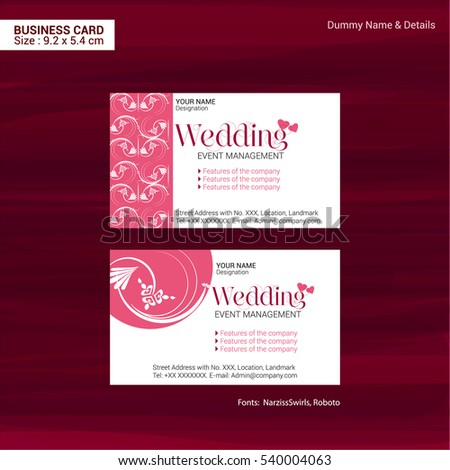 Business Cards Event Management Company Vector Stock Vector Royalty