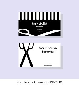 Business cards for the hairdresser. Vector illustration