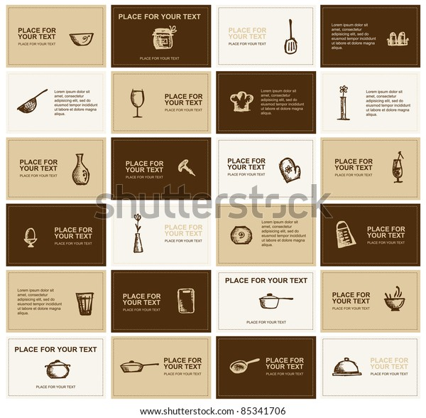 Business Cards Kitchen Utensils Your Design Stock Vector Royalty
