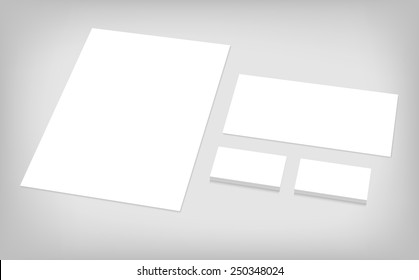 Business cards, letterhead, envelope. Stationary branding template for CI presentation. Set of corporate identity template.