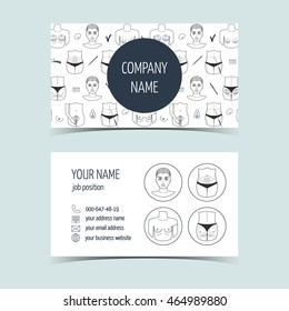 Business cards for plastic surgery clinic . Promotional products for plastic surgery clinic. Line icons. Flat design. Vector illustration