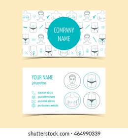 Business cards for plastic surgery clinic . Promotional products. Line icons. Flat design. Vector illustration