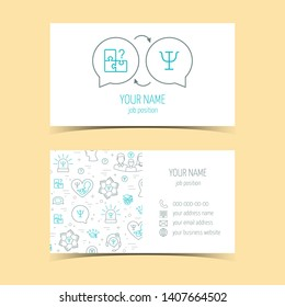 Business cards for psychology help. Promotional products. Line icons. Flat design. Vector