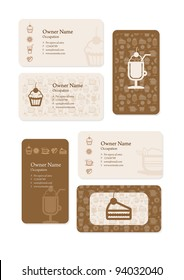 Business cards set for coffee shop.