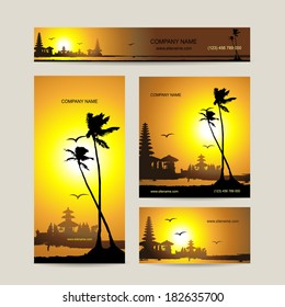 Business cards set with tropical sunset for your design