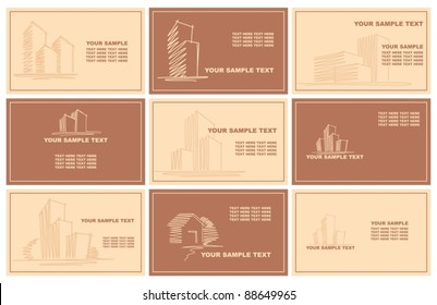Business cards with sketches of buildings