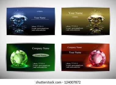 business cards are templates. red, blue, yellow and green background. diamond in perspective. vector.