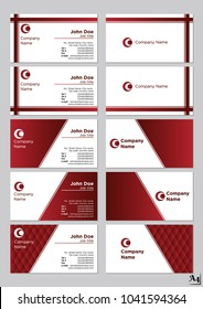 Business cards vector template Red Scarlett