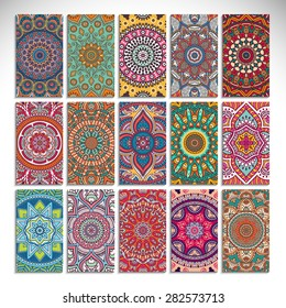 Business cards. Vintage decorative elements. Hand drawn background. Islam, Arabic, Indian, ottoman motifs.