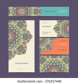 Business Cards. Vintage decorative elements. Ornamental floral business cards