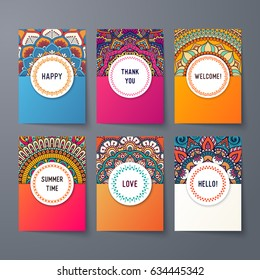 Business Cards. Vintage decorative elements. Ornamental floral business cards, oriental pattern, vector illustration. Islam, Arabic, Indian, turkish, pakistan, chinese, ottoman motifs.