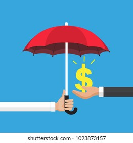 Business care connection concept. Protection money. people holding an umbrella, person protecting the money. Vector illustration flat design style.