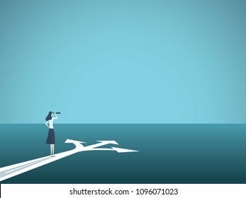 Business or career decision vector concept. Businesswoman standing at crossroads. Symbol of challenge, choice, change, new opportunity. Eps10 vector illustration.