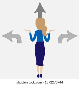 Business or career decision vector concept. Businesswoman standing at crossroads. Confused businesswoman stands at crossroads and thinks where to go.