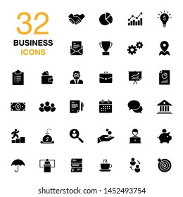 Business, career, finance isolated flat vector icon set. Black glyph solid symbols isolated on white.