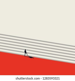 Business career growth and promotion vector concept in minimalist art style. Businessman walking up stairs. Symbol of progress, success, motivation, ambition and achievement. Eps10 vector illustration